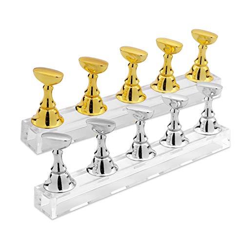 MWOOT Magnetisch Nagel Tipps Ständer Halter Satz,Schachbrett Nail Art Tip Praxis Ständer Ausstellungsstand zum Üben Von Nägeln und DIY Maniküre Salon,(Gold + Silber)