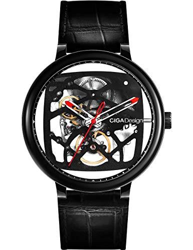 Reloj Automático Mecánico Analógico Pantalla Correa de Cuero Reloj Negocio Casual Reloj de Pulsera para Hombres y Mujeres
