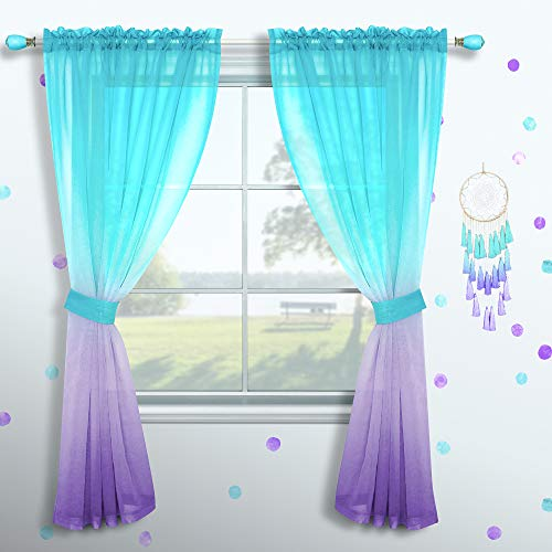 Girls Curtains for Bedroom Decor Single Curtain Panel Pole Pocket Window Sheer Drapes Pastel Teal Purple Ombre Curtains for Kids Room Teen Princess Decorations Set Lilac Turquoise 52 x 63 Inch Length