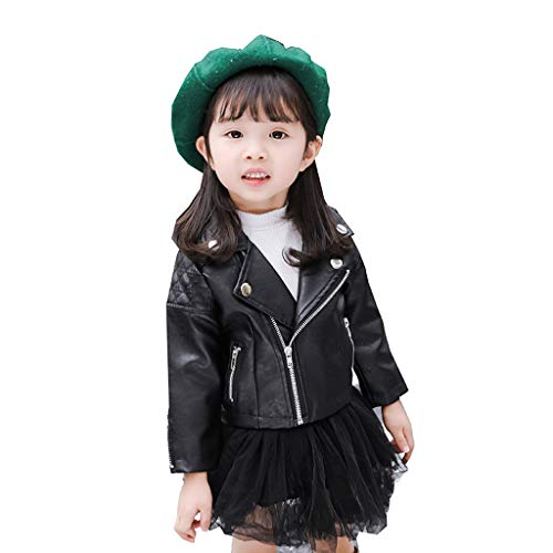 Baby Girls Faux Leather Motorcycle Jacket, Toddler Kids Long Sleeve Solid Leather Coat Winter Windproof Outwear Tops (Black, 2-3 Years)