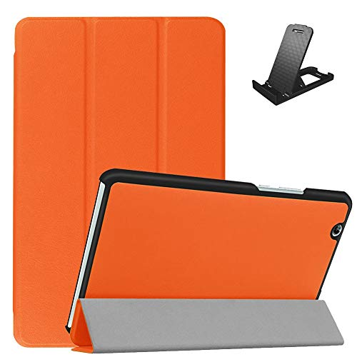 Jorisa Coque pour Huawei MediaPad M3 8.4,Étui à Rabat Magnétique en Cuir PU Mince Léger Housse Couverture avec Support Multi-Angle Réglable,Orange