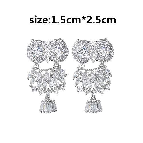 Owl Nighthawk Earrings AAA Zircon Inlaid Korean Fashion Earrings 925 Sterling Silver Ear Pins-Platinum Plated Silver Pin
