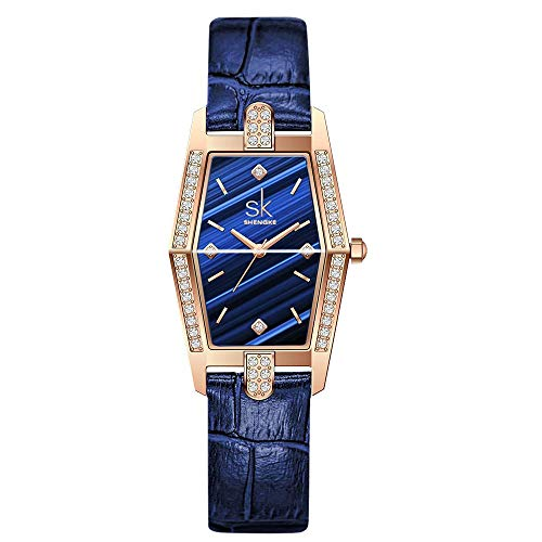 SK Exquisites Klassisches Rechteckgehäuse Armbanduhren für Damen Quadrat Damenuhr Uhren (Blue-Leather)