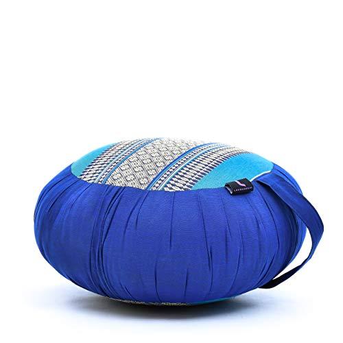 Leewadee cojín de meditación Zafu – Almohada Redonda de Yoga, Asiento tailandés de kapok Natural y orgánico Hecho a Mano, 40 x 20 cm, Azul