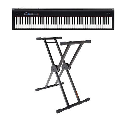 Roland Roland FP-30 - Pianoforte digitale con supporto regolabile per tastiera Roland KS-20X, colore: Nero