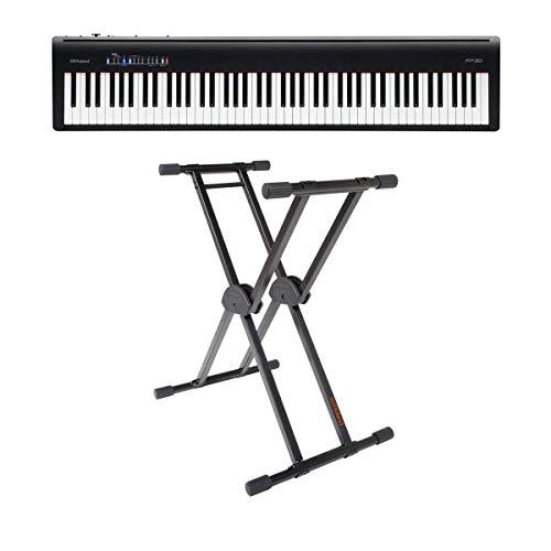 Roland Roland FP-30 Digitales Piano (schwarz) – mit Roland KS-20X Double Brace verstellbarer X-Style Keyboardständer