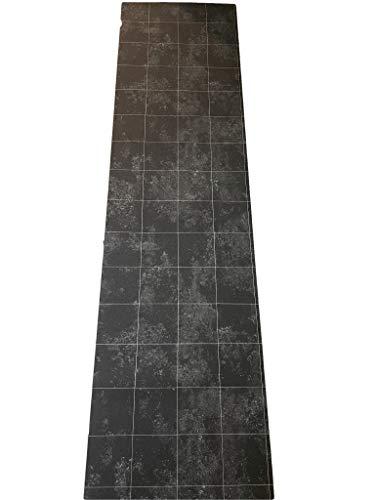 Tappeto cucina a metraggio PVC largo 50 cm mattonelle Lavagna Design Silver HIGH TECH