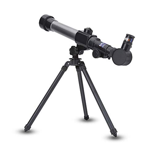 Keenso Telescopio astronómico Refractor niños, 20X 30X 40X Telescopio astronómico Espacial monocular de Juguete de Regalo Educativo con trípode