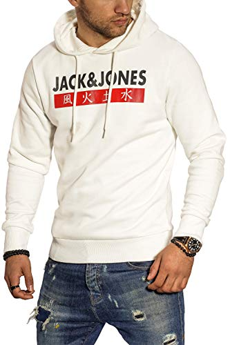 JACK & JONES Herren Hoodie Kapuzenpullover Sweatshirt Pullover Streetwear 4 Elements (Large, Cloud Dancer)