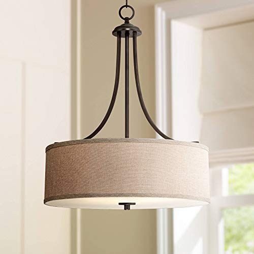 """La Pointe Oil Rubbed Bronze Drum Pendant Chandelier 19 1/2"""" Wide Oatmeal Linen Shade Fixture for Dining Room House Foyer Kitchen Island Entryway Bedroom Living Room - Franklin Iron Works"""