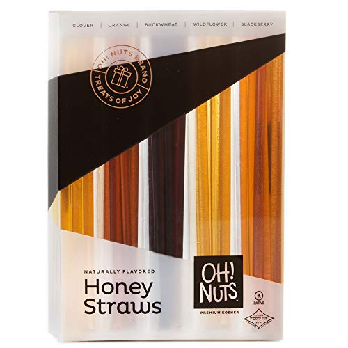 Oh! Nuts Holiday Honey Sticks Gift Set, 5 Naturally Flavored By Bee's Variety Stix Gift Box, Christmas Thanksgiving or New Year's Prime Gifts Baskets Original Unique Gourmet Food Idea for Men & Women
