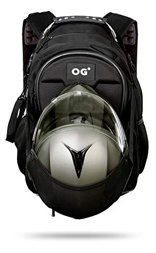 OG Online&Go CityRunner Motorrad-Rucksack, Wasserdicht Erweiterbar 30-35L, Helmtasche, Motorradfahrer, Helm-Trageriemen, Hohe Kapazität, Laptop, Reflektierend, USB