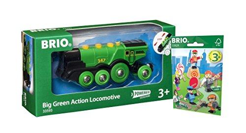 BRIO Eisenbahn Set - 33593 Grüner Gustav Batterie Lok und 33829 1x Figuren Pack Serie 1