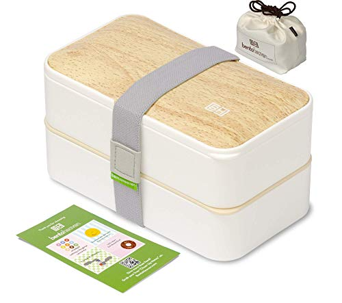 BentoHeaven Leakproof Bento Box with Fun Lunch Notes, Cutlery, Chopsticks - Bamboo White