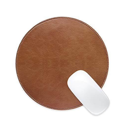 ProElife Tapis de souris rond en cuir PU durable durable antidérapant double usage, réduction du bruit/facile à nettoyer à la maison, au bureau, au travail, 220 mm rond (bronze)