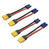 2ペア XT60H XT60オスメスプラグコネクタアダプターは10cm 12awgケーブルワイヤでEC5オスメスプラグコネクタアダプターに変換する