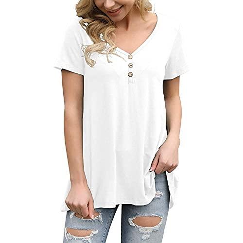 Camiseta de manga corta para mujer, estilo casual, cuello en V, color liso A_blanco. L