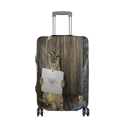 Promini Reisegepäckschutz, Motiv: Katze mit Computer auf Schiff, waschbar, elastisch, staubdicht, 45,7–81,3 cm
