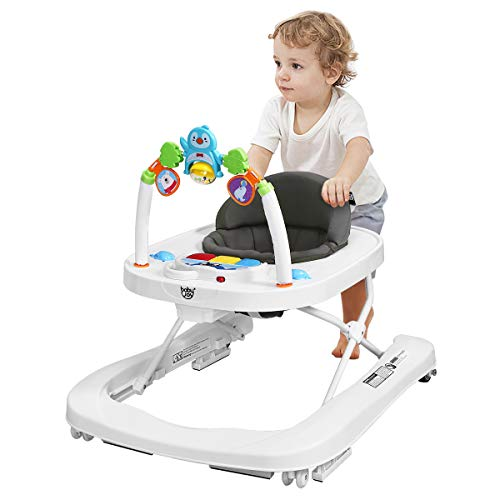 DREAMADE Lauflernhilfe, Baby Walker Gehfrei, Laufhilfe mit Spielzeugen, Lauflernwagen, Laufstuhl Höhenverstellbar (Grau)