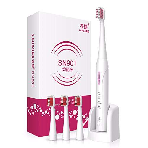 Cepillo de dientes eléctrico Lansung SN901 Cepillo de dientes sónico recargable 4 Boquilla para cepillo de dientes Adultos Cepillo de dientes eléctrico-rosado