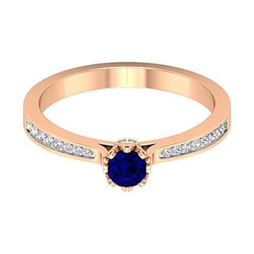 Anillo de zafiro azul solitario de 4 mm, piedra natal de septiembre, anillo de diamante HI-SI, anillo de flor de oro (calidad AAA), oro de 14 quilates, Metal, Diamond Blue Sapphire,