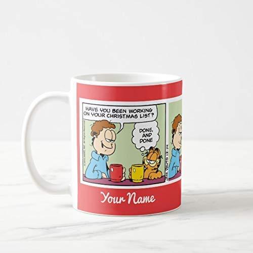N\A Divertida 'Lista enviada por Correo electrónico a Santa' Garfield Comic Strip Mug Taza de café Taza de té 350 ml, 350 ml