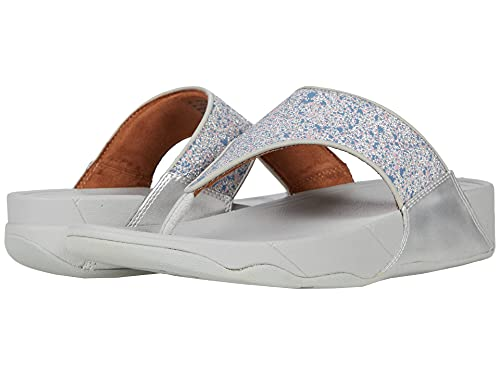 FitFlop Women's Lulu Glitter Splash Original Fit Toe-Post Sandals, Silver, 7
