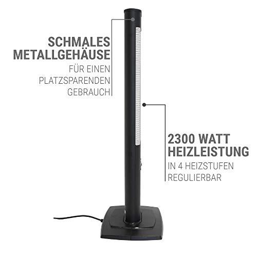 VASNER StandLine 25R Infrarot Standheizstrahler 2500 Watt mit Abdeckhaube, Fernbedienung, Thermostat, Carbon Standstrahler – schwarz - 5
