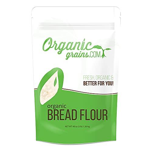 Organic Grains Organic Bread Flour - 3 lbs. (48 oz.) - The Top Organic Flour & Bread Flour For Baking - Non-GMO, Kosher, Vegan & Unbleached Flour
