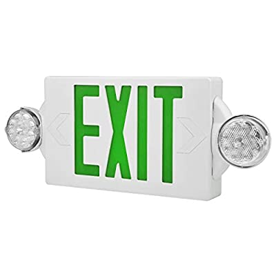 YANREN Emergency Light Compact Combo Exit Sign Emergency, UL Certified Two LED Flood Lights Adjustable, Backup Battery, Exit Lighting, Commercial Grade, Fire Resistant (Green,1Pack)