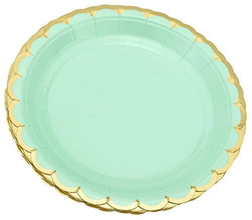 FiveSeasonStuff 24 Pezzi di Carta USA e Getta per Feste di Compleanno, Barbecue, ricevimenti, riunioni, Matrimoni, Feste ed Eventi (Verde Menta | Bordo Floreale Oro | Tondo | 18cm)
