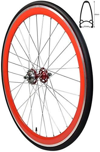 Redondo 28 Zoll Hinterrad Singlespeed Fixie Laufrad Felge Schwarz Orange + Reifen