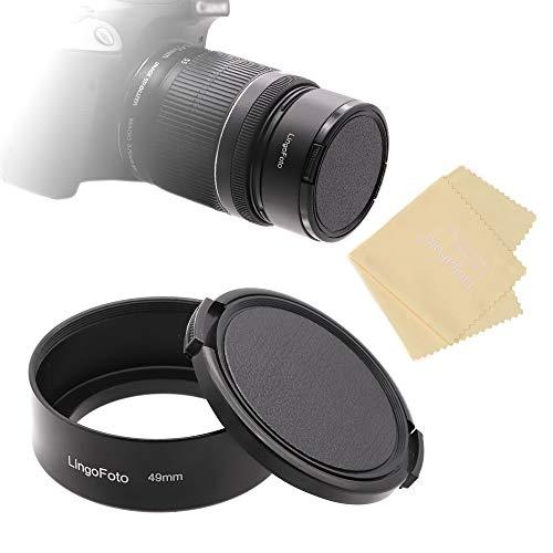 LingoFoto Parasol estándar de metal de 49 mm con tapa de lente de 52 mm para cámara Canon Nikon, Sony, Pentax, Olympus, Fuji Sumsung Leica + paño de limpieza