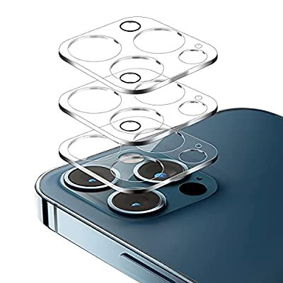 (3 pieces) tempered glass camera lens protective film 9H hardness, compatible with iPhone 12 pro max 6.7-inch tempered glass (suitable for phone case use) (new version) (scratch-proof) (easy to install) (precise cut)(Prevent glare) by haohanguangzhoumaoyi