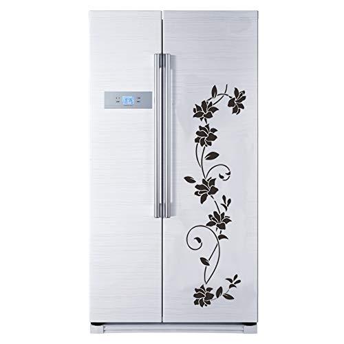 Pegatina de pared de vid de flor negra para refrigerador, gabinete, decoración de dormitorio, calcomanías artísticas, papel tapiz, Mural, pegatinas para nevera