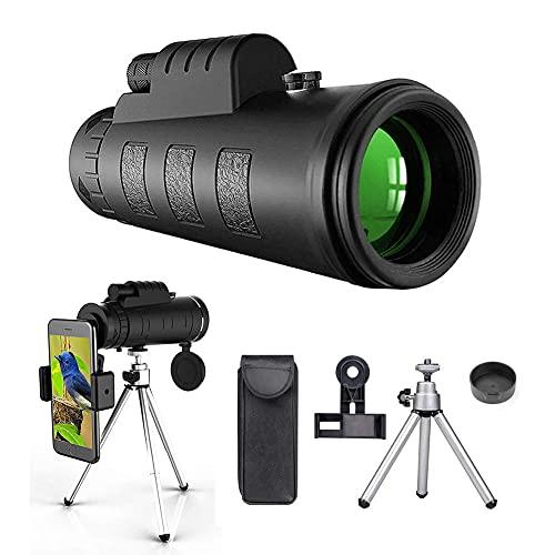 40x60 HD monocular, Nuevo telescopio monocular Impermeable, priscador de Alta Potencia monocular con Smartphone Adaptador trípode para Tiro de Tiro a pájaros de Tiro al Paisaje de Vida Silvestre