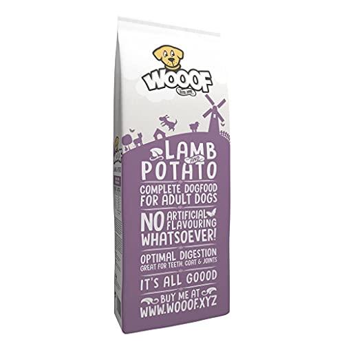 WOOOF Lamm & Kartoffel 14kg kaltgepresstes, getreidefreies Hundefutter, günstiges Premium Trockenfutter ohne Getreide & Weizengluten, hoher Fleischanteil