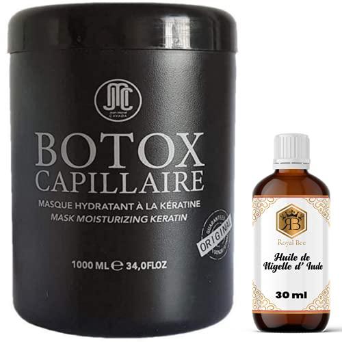 Botox Capillaire Jean Michel Cavada 1000 ml +1 Huile de Nigelle d' Inde Royal Bee 30 ml - Botox 1000 ml - Hydrate nourrit et lisse les cheveux - tous types de cheveux - soin capillaire