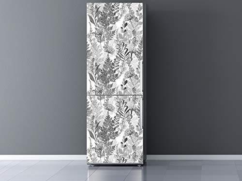 Oedim Vinilo para Frigorífico Flores Blanco y Negro 60x185cm | Adhesivo Resistente y Económico | Pegatina Adhesiva Decorativa de Diseño Elegante