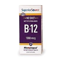 Superior Source - ないショット B12 メチルコバラミン インスタント溶かす 1000 mcg。 - 60錠剤
