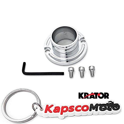Krator ATV Exhaust Tip Muffler Power Outlet for Yamaha Badger 80 / Breeze 125 / Raptor 50/80 / Grizzly 80/125 Polished Chrome + KapscoMoto Keychain