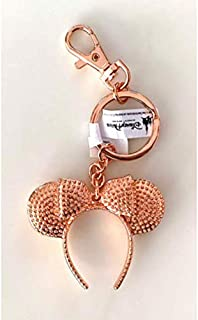 Disney Parks Minnie Mickey Mouse Rose Gold Headband Metal Keychain