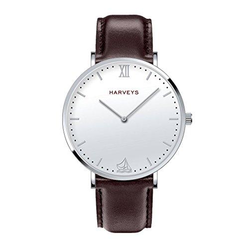 Reloj de Pulsera HARVEYS - Ipanema Silver - Reloj Unisex - Esfera de Acero Inoxidable, Correa de Piel Genuina, 5ATM