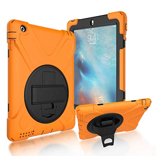 GHC PAD Cases & Covers For iPad Air 2 9.7'', Heavy Duty Armor Kids Cover A1566 A1567 360 Rotation Hand Strap Silicon PVC Cover for iPad Air 2 (Color : Orange)