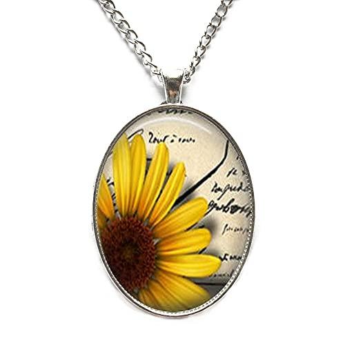 Collar de girasol colgante de girasol con colgante de flor de girasol amarillo, regalo para amante de girasol, N251