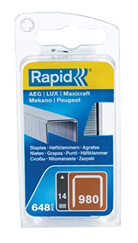 RAPID 40109548, Agrafes en fil plat N°980, Longueur 14 mm, 648 pièces, Pour les outils Swingline, Fil galvanisé Gris