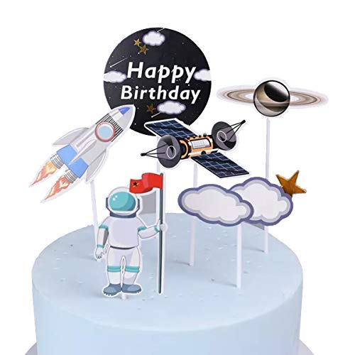 Anxdh space cake top hat planet party supplies birthday decoration rocket astronaut cake decoration, outer space ship theme party birthday party