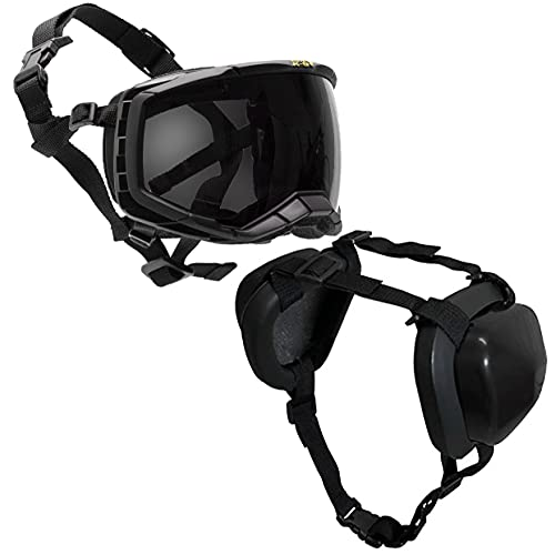 K9 Hearing Protection for Dogs (Black + Goggles)