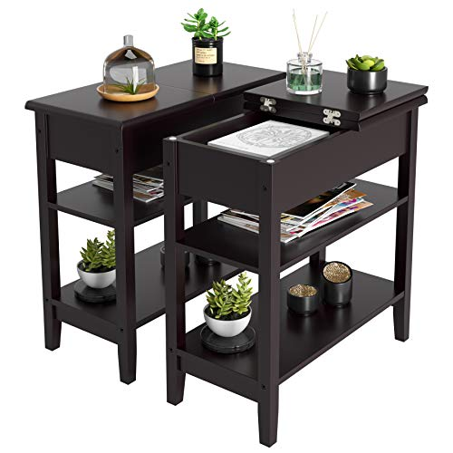 HOMECHO End Side Table with Double Shelves Wood Flip Top Sofa Table Compact Nightstand with Storage for Living Room, Bedroom, Home Office (2, Dark Brown)