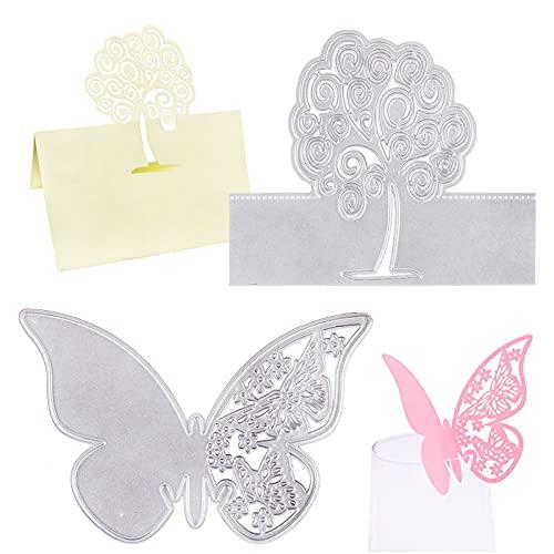 Kit 2 Troqueles Scrapbooking Etiquetas Troqueles Corte Metal Mariposa Álboles de La Vida para Hacer Tarjetas de Nombre Etiquetas de Vaso de Boda Fiesta Decoración Manualidades